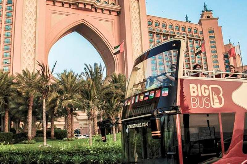 Big bus in front of Atlantis the palm